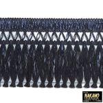 昔ながらのフロントカーテン キララフレンジ ラメ黒/青 2.2m