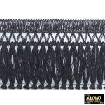 昔ながらのフロントカーテン キララフレンジ ラメ黒/シルバー 2.2m