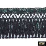 昔ながらのフロントカーテン キララフレンジ ラメ黒/緑 2.2m