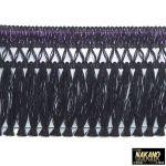 昔ながらのフロントカーテン キララフレンジ ラメ黒/紫 2.2m